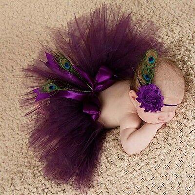 Fotoshooting Neugeborene Baby Kostüm Tütü + Stirnband Pfau Foto - Shooting