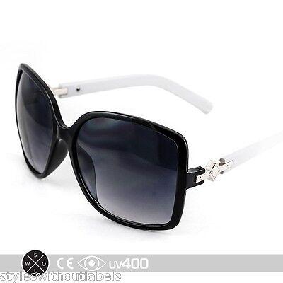 Black & White 21st Century Jackie O Vintage Oversized Sunglasses FREE Case (Jackie O Sunglasses White)