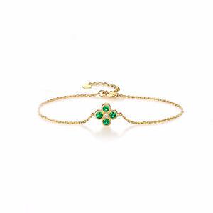 0.53 Carat Emerald, Diamond Bracelet in 18k Yellow Gold
