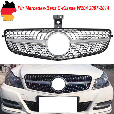 AMG Silber Diamant Kühlergitter Grill Für Mercedes-Benz C-Klasse W204 2007-2014
