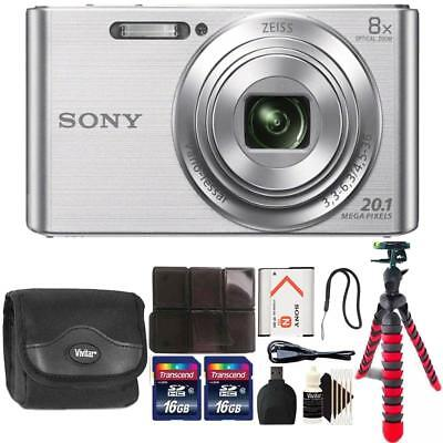 Sony DSC-W830 20.1MP Point and Shoot Digital Camera Silver + 32GB Accessory Kit