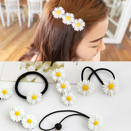 Women Daisy Elastic Rubber Hair Ties Band Rope Hairpin Hair
