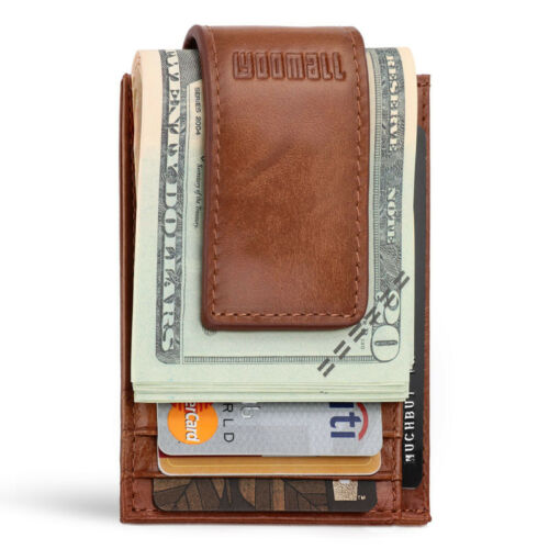 Mens Genuine Leather Money Clip Front Pocket ID Card RFID Blocking Slim Wallet
