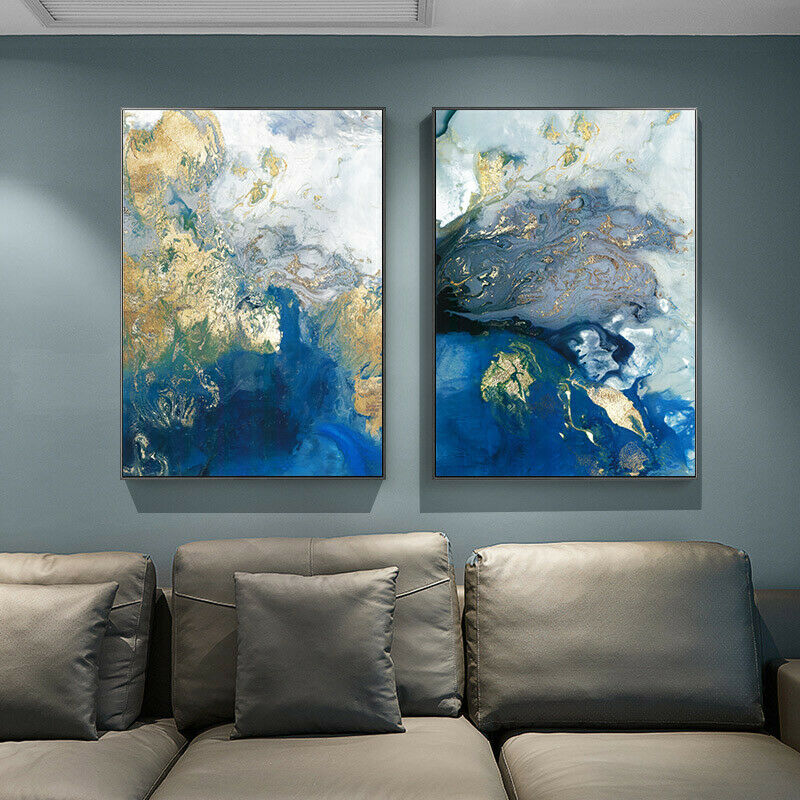 Golden Blue Abstract Poster Canvas Wall Art Abstract Print M
