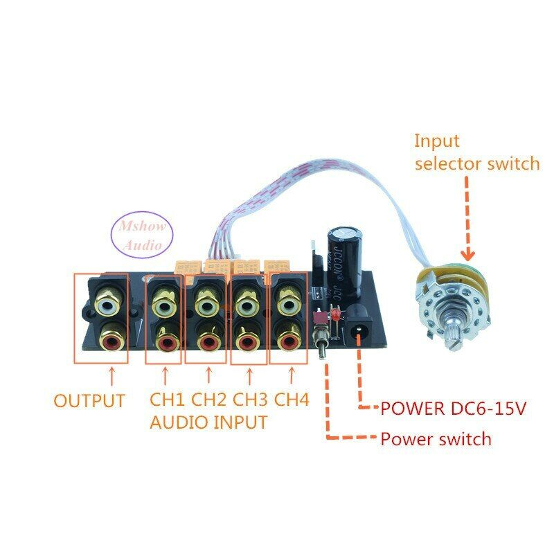 4 IN 1 OUT RCA input Source Selector Signal 4 ways Audio Switcher Rotary switch
