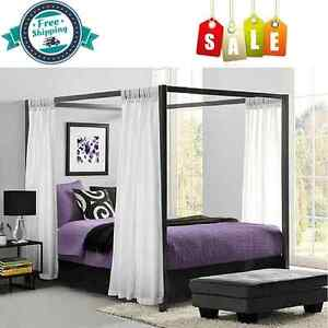 metal canopy bed frame queen size head footboard platform 22 pcs iron furniture