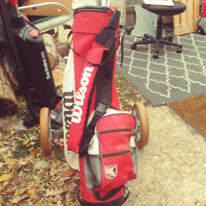 Spalding golf caddy Wilson bag,  McGregor 1, 3 & 5 metal Woods