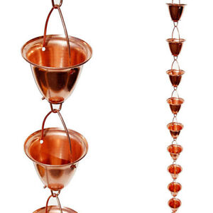 Copper Rain Chain - Large - Cup/Bell style - 8 Feet - Stanwood
