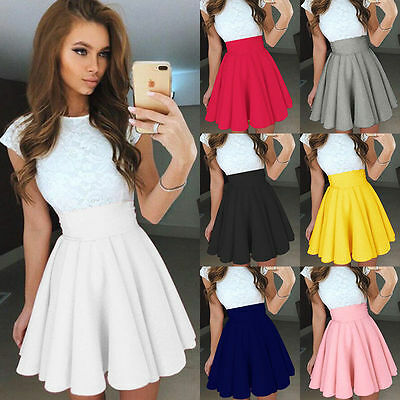 Women Mini Pleated Skirt High Waist Skater Club Dress Casual Short Cocktail