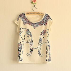 New women european fashion elephant print cotton short for Elephant t shirt women s