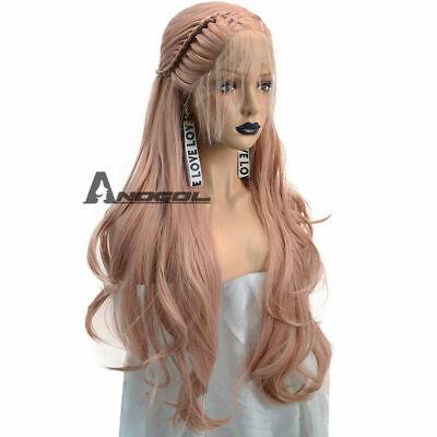 Anogol Braided Lace Front Wig With Baby Hair Synthetic Cabelo Wavy Pink Wigs comprar usado  Enviando para Brazil