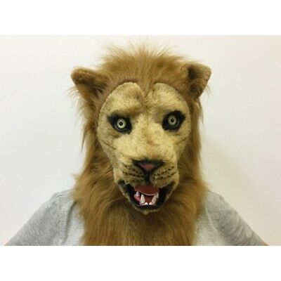 ADULT LION KING OF JUNGLE ANIMAL MOUTH MOVING FURRY COSTUME OVER THE HEAD MASK