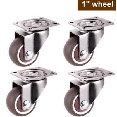 4pcs 1 Universal Swivel Caster Wheels Heavy Duty Furniture Mute Rubber Casters
