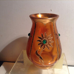 Antique Orange Glass Vase Painted Flower
