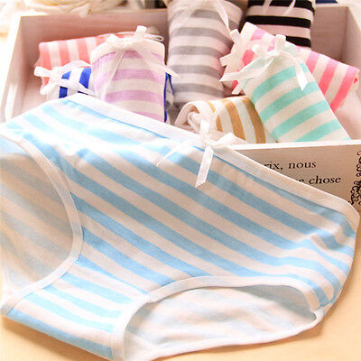 Women Lovely Cute Underwear Strip Bow Cotton Briefs Panties Hipster Underpant FJ