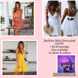 Backless Mini Dress pink