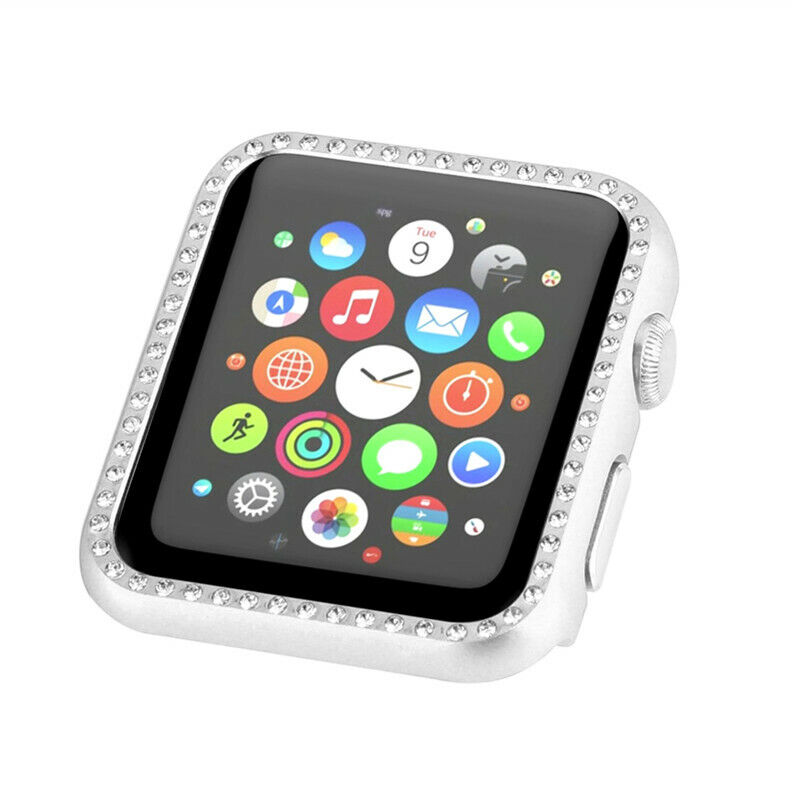 Bling Rhinestones Diamond Aluminum Metal Case for Apple Watch Series 4 3 2 1 Jewelry & Watches