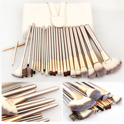24Pcs Champagne Beauty Makeup Brushes Set Cosmetic Foundation Brush Tools + Bag