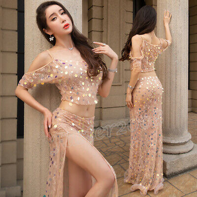 Sparkly Sequins New Women Summer Belly Dance Costumes 2Pics Top Long Skirt HOT (Hot Costume Pics)
