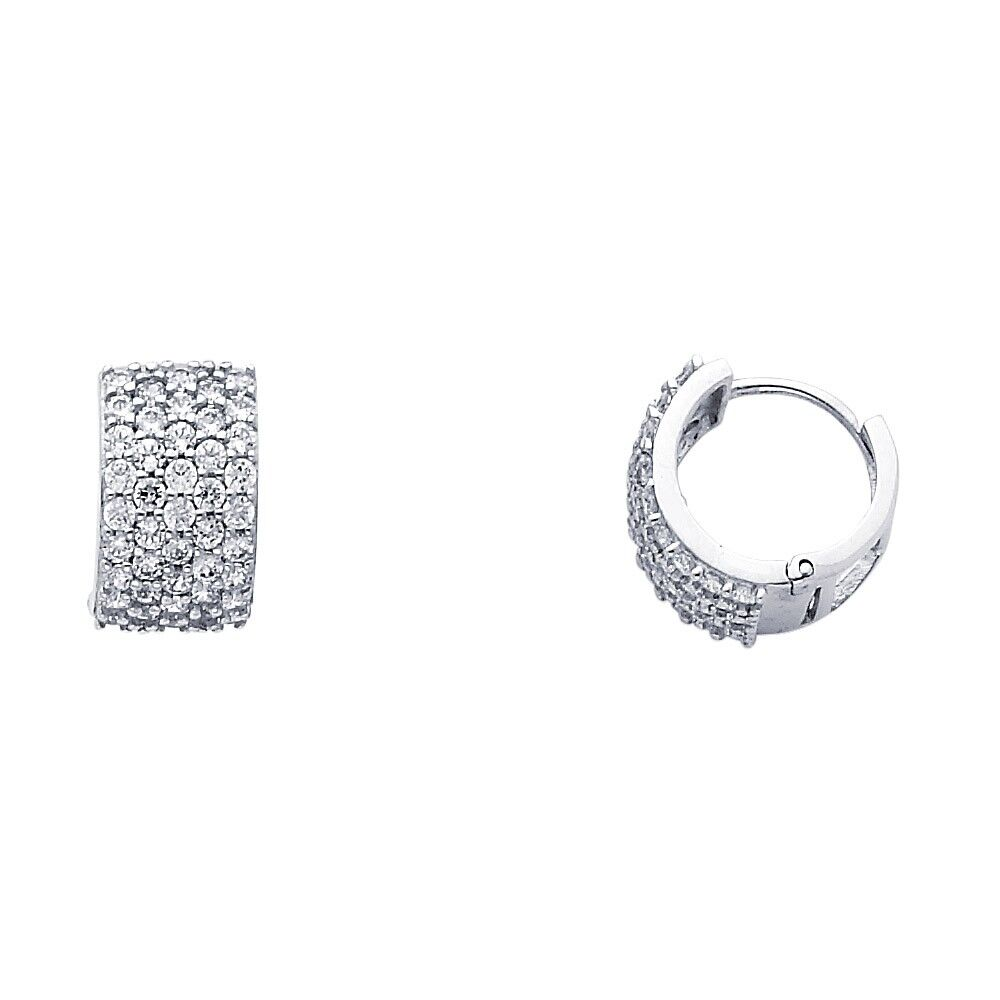 3e938c37c0907 Details about Huggie Hoop Earrings Solid 14k White Gold CZ Huggies Wide  Round Five Row Fancy