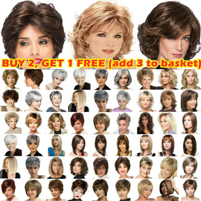 Women Natural Short Straight Wavy Curly Pixie Cut BOB Full Hair Wig Cosplay US Hair Care & Styling