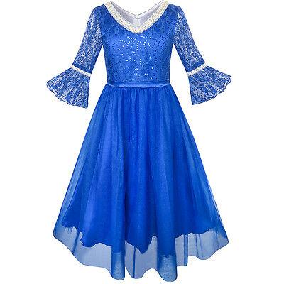 Flower Girl Dress Size 14 (US STOCK Flower Girl Dress Lace Sequin V-neckline Pageant Wedding Size)