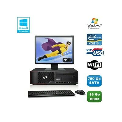 Lot PC Fujitsu Esprimo E700 E90+ SFF i5 3.1GHz 16Go 750Go Graveur WIFI W7 +19