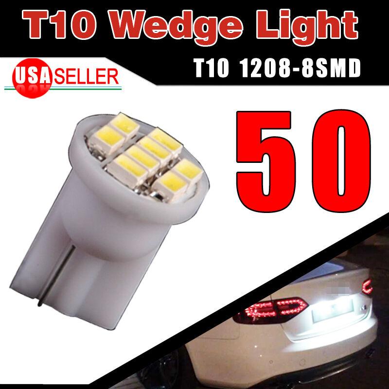 50x Super Bright White T10 8SMD LED Interior Light Bulbs W5W