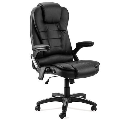 8 Point Massage Executive Office Chair Faux Leather Computer Recliner