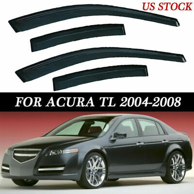 Window Visor Rain Guard Protector Black Kit For 2004-2008 Acura TL 4Dr HZN0826HT