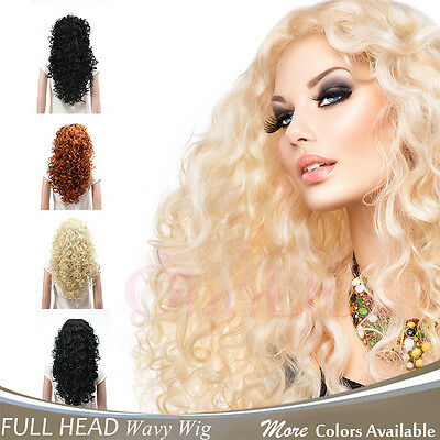 Curly Wavy Full Wigs (OneDor Fashion Long Hair Natural Curly Wavy Full Head Wigs Cosplay Costome Party )
