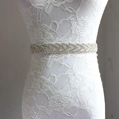Wedding Bridal Sash Belt, Crystal Pearl Wedding Dress Sash Belt -US Stock