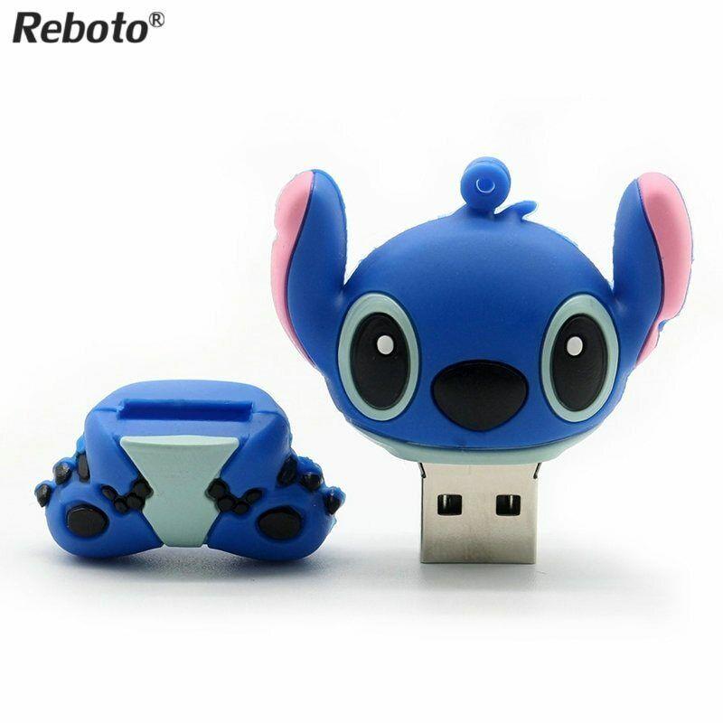 Stitch Blue-16GB Novelty Stitch Blue Shape Design 16GB USB 2.0 Flash Drive Cute Memory Stick Stitch Thumb Drive Data Storage Pendrive Cartoon Jump Drive Gift