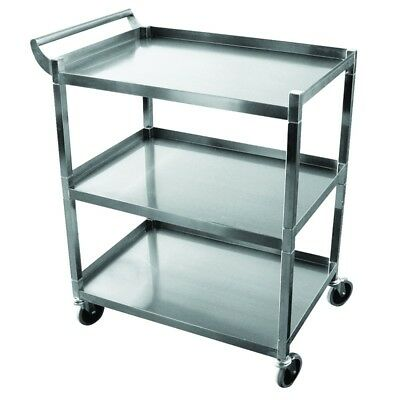 Hd Utility Serving Bus Cart Stainless Steel 3 Shelf New - Knockdown