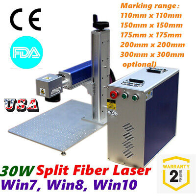 Usa 30w Split Fiber Laser Marking Engraving Machine Rotary Axis Include Fda Ce