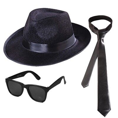 3 tlg BLUES BROTHERS SET Hut + Brille + Schlips Kostüm Mafia Gangster Fasching