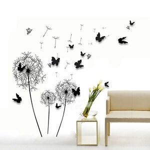 Wall sticker paper art decoration dandelion 3d butterfly - Sticker mural pissenlit ...