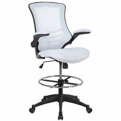 Flash Furniture Mid Back Mesh Drafting Stool In White