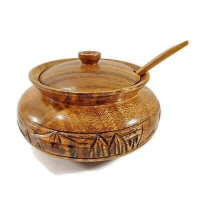 Medium; Brown Indian crafts idea Handmade Wooden Sugar Pot//Bowl//Container with Spoon for Dining Table and Kitchen Craft Wooden Handmade Serving Bowls with Spoons Mouth freshner containers Kitchen products 4 inches