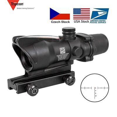 Hunting Riflescope ACOG 4X32 Real Fiber Optics Red Dot Illuminated Chevron Glass