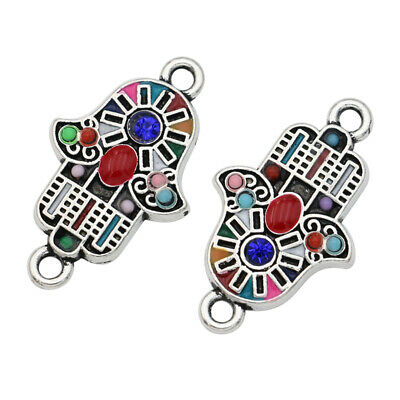 5pcs Silver Colorful Fatima Hand Connector for Bracelet Jewelry Accessories DIY Hand Accessories Jewelry