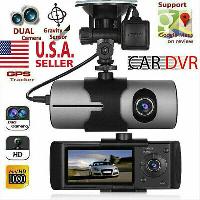 Dual Lens GPS Camera HD Car DVR Dash Cam Video Recorder G-Sensor Night Vision