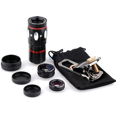 12x Telephoto +Wide Angle Marco Fisheye Camera Lens Clip kit For iPad 3 4 mini 2