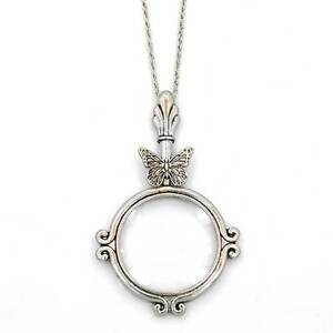 Silver Magnifying Glass Antique Butterfly Pendant 31 Chain Necklace Sj022s