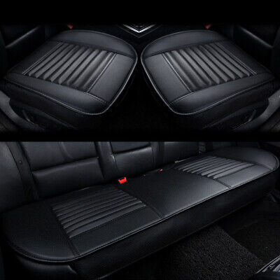 3 Breathable PU Leather Black Car Front Rear Back Seat Cover Set Pad Mat Cushion