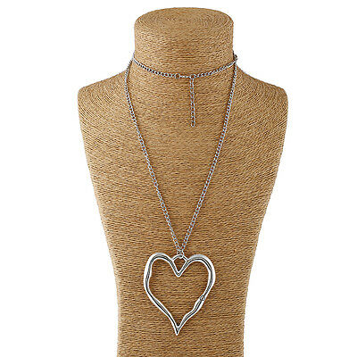 Abstract Heart Necklace - Abstract Metal Lagenlook Large Silver Heart Pendant on Long Curb Chain Necklace