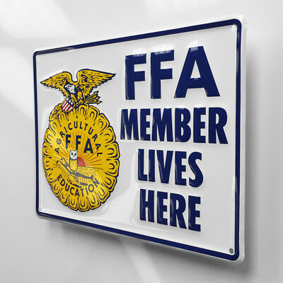 12 Inch FFA Member Lives Here Embossed Metal Tin Tacker Sign