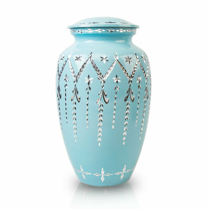 Garland Drop Alloy Metal Urns For Ashes - Large  Blue