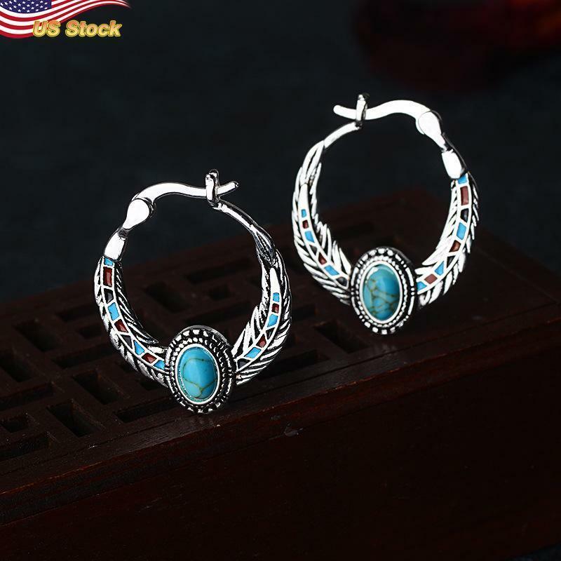 Gorgeous Boho Hoop Earrings Women 925 Silver Plated Blue Jewelry 1 Pair/set