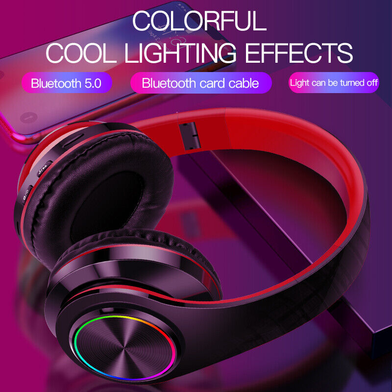 LED Wireless Bluetooth 5.0 Noise Canceling OverEar Headphones Bass Headset w Mic